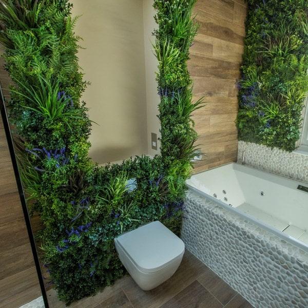 VistaFolia by VistaGreen Living Wall Foliage Wall in Bathroom